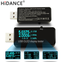 цена на OLED USB current voltage power capacity monitor qc2.0 quick charger tester Phone Power Bank detector voltmeter  coulometer