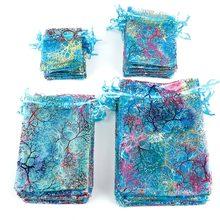 Sacs colorés en Organza 7x9cm 9x12cm 10x15cm   Sacs d'emballage de bijoux, pochettes cadeaux à cordon, pour cadeau de mariage, 50 pièces/lot
