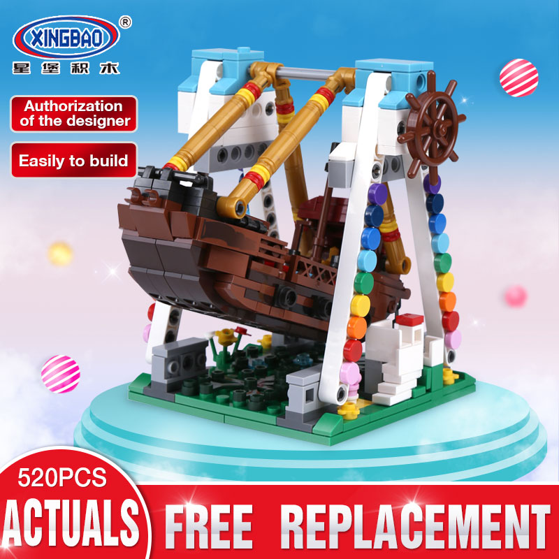 XingBao 01109 Genuine 520pcs Colorful World Series The Pirate Ship Set Building Blocks Bricks Educational Toys Model As Boy Gift lepin 16042 2344pcs the slient mary set new pirate ship series children educational building blocks bricks toys model gift 71042