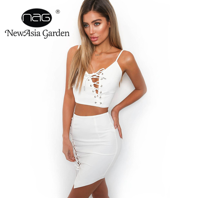 NewAsia Garden Fashion Style White Club Sexy Mini Dress Lace UP Womens Favourite Dress Set Free Shipping Drop Shipping
