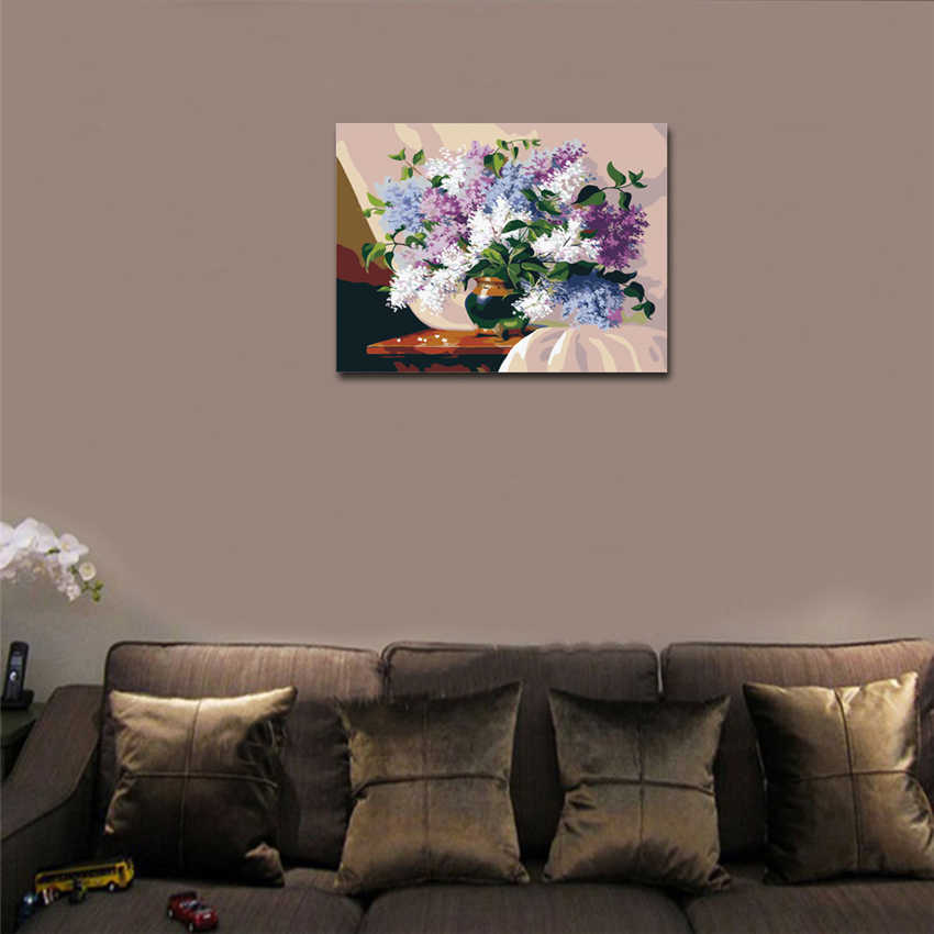 WEEN Purple Flowers Framed Oil Paint By Numbers Modern Wall Art Picture Home Decor DIY Painting By Numbers Acrylic Paint 40x50cm in Painting Calligraphy from Home Garden