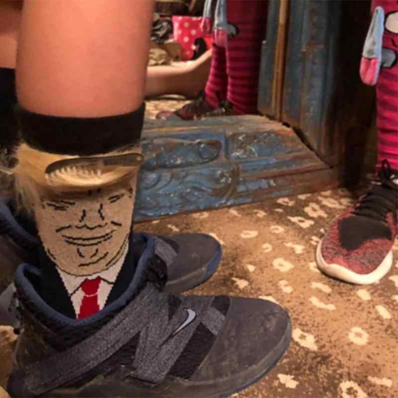 Calcetines deportivos informales para adultos con impresión divertida del pelo falso 3D del Presidente de los hombres Donald Trump