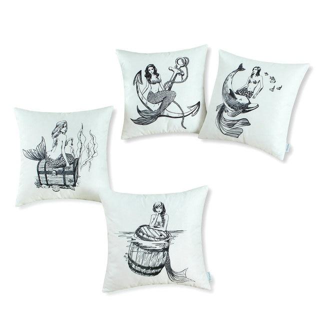 "4PCS CaliTime Throw Pillow Covers bo Set Solid Mermaid 18"" X 18"