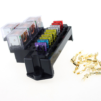 10 Way Car Fuse Box 80A 5 Pin Relay Socket Base Holder Auto Interior Engine Acessories