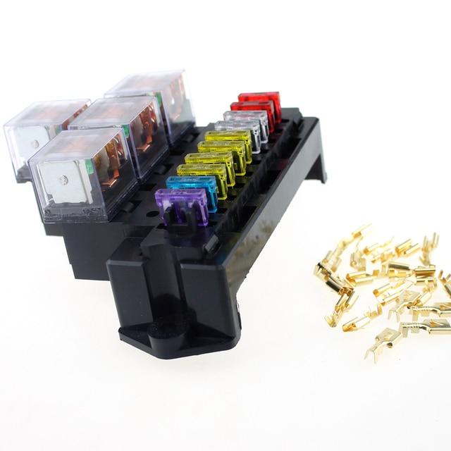 10 Way Car Fuse Box 80A 5 Pin Relay Socket Base Holder Auto Interior