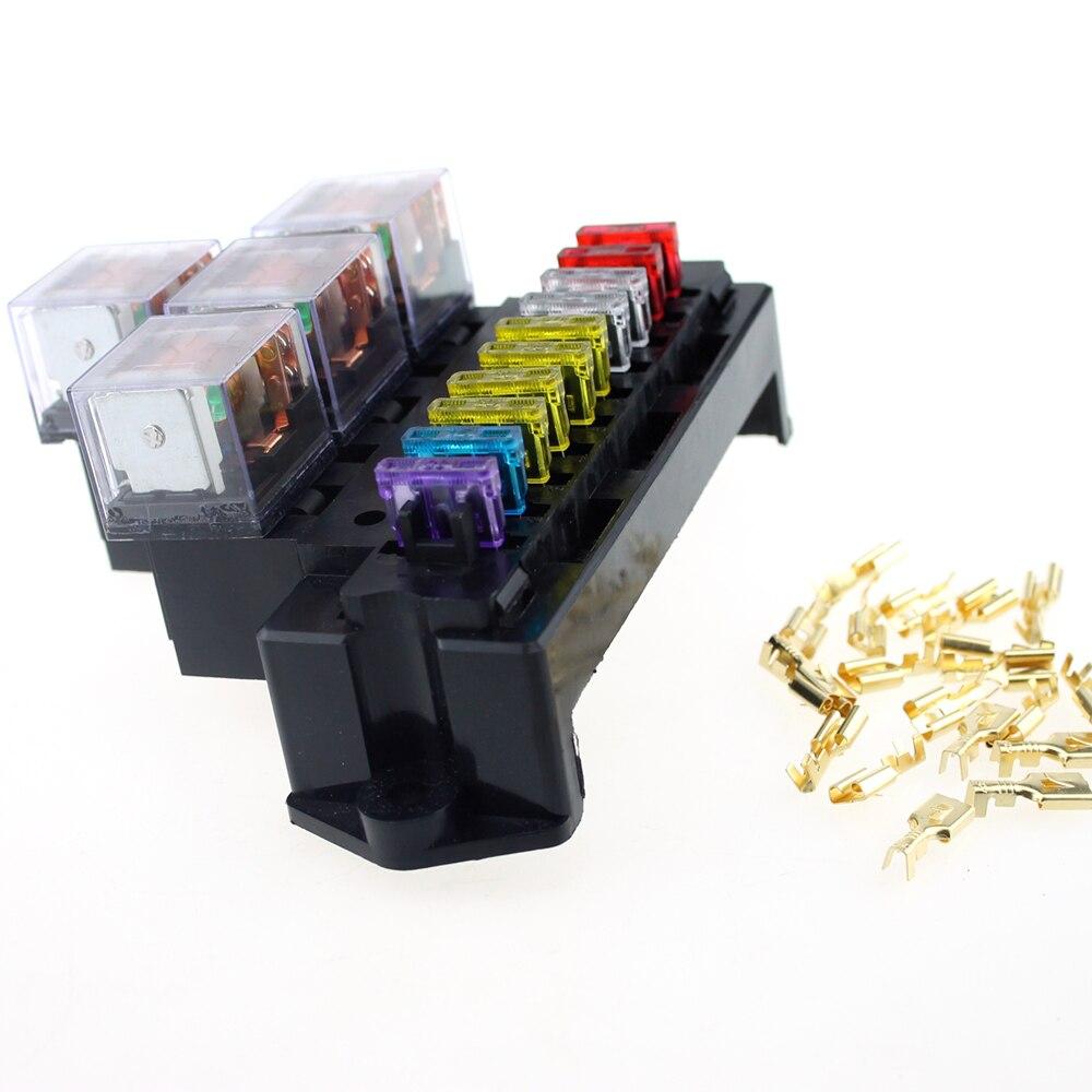 US $23.02 11% OFF|10 Way Fuse Box 80A 5 Pin Relay box Socket Base Holder on