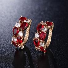 Mona Lisa Red Crystal Zircon Earrings for Women