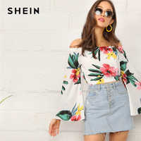 SHEIN Boho White Botanical Print Flare Sleeve Bardot Crop Top Blouse Women Off the Shoulder Spring Autumn Beach Style Blouses