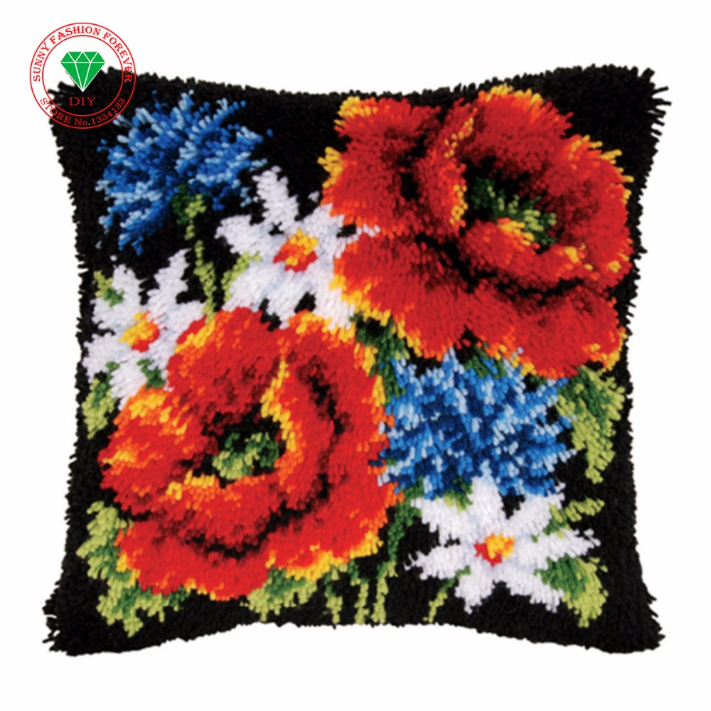 Flowers Pillowcase Needlework Cushion Craft Diy Pillowcase Embroidery Patchwork Yarn Carpet Embroidery Stitch Thread Embroidery