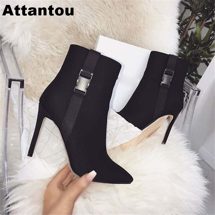 Fashion Black Suede High Heel Boots Women Autumn Winter Slip On Thin Heel Pointed Toe Ankle BootFashion Black Suede High Heel Boots Women Autumn Winter Slip On Thin Heel Pointed Toe Ankle Boot