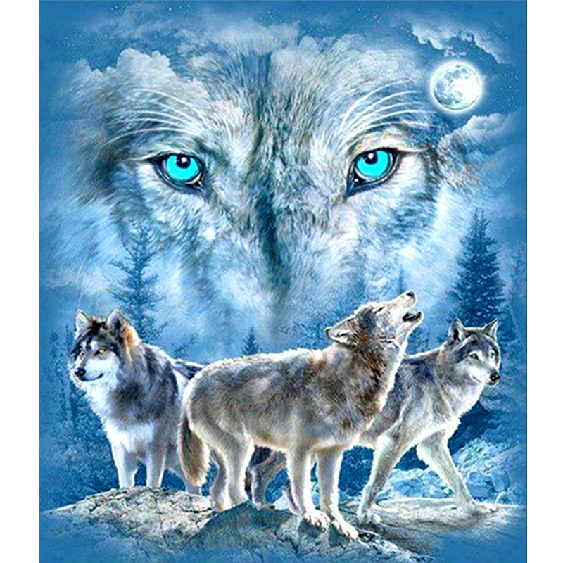 "Full Square / Round Drill 5D DIY Diamantmålning ""Wolf Family & Moon"" 3D Broderi Cross Stitch 5D Rhinestone Home Decor Gift"
