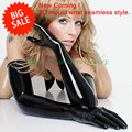 High Quality 3D Mould Black Latex Seamless Long Gloves  Rubber Opera Gloves Plus Size  L , XL Hot Sale