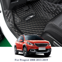 Car Styling Leather Car Floor Mat For Peugeot 2008 2013 2019 5Seats LHD Auto Foot Pad Automobile Carpet Cover Internal Accessory