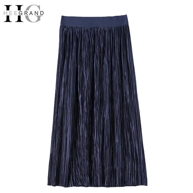 Hee grand 2017 moda elástico cintura plisado midi faldas sólido azul imperio faldas de cintura alta más el tamaño xl-5xl tramo wqc494
