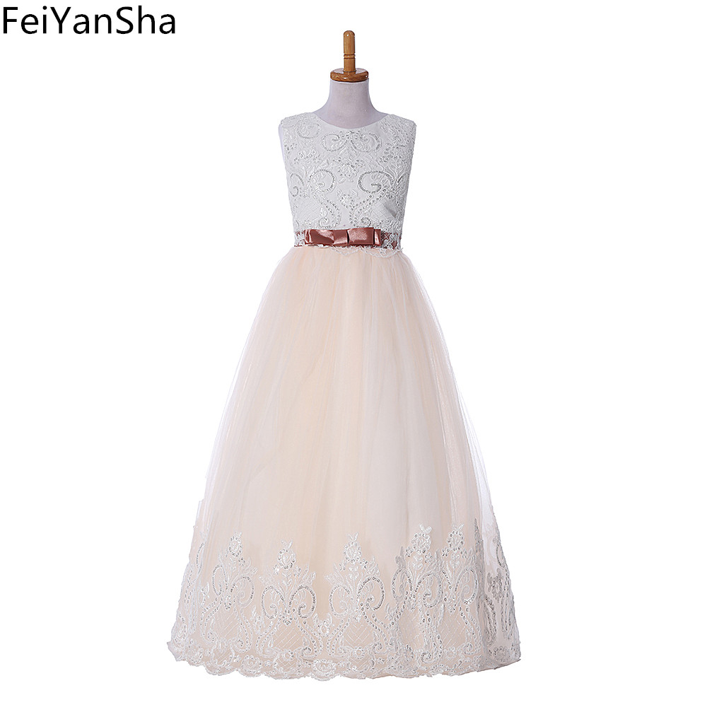 FeiYanSha New First Communion Dresses for Girls Champagne O-neck Sleeveless Ball Gown Lace Appliques Flower Girl Dresses for Wed все цены