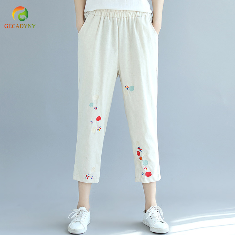 Fashion Women Cotton Linen Harem Pants Capris Women Casual High Waist Embroidery Pants Elastic Waist Trousers Pantalon Femme