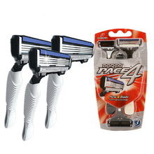 High-quality Dorco Pace 4 Razor Men 3 Pcs/lot 4-Layer Blades for Shaving Stainless Steel Safety