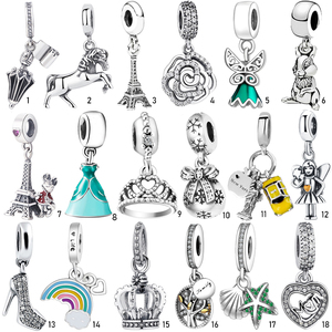 Authentic Fashion S925 Sterling Silver Crystal Enamel Pendant Charms bead fit Silver Bracelets Bangles 925 Silver Jewelry Gift