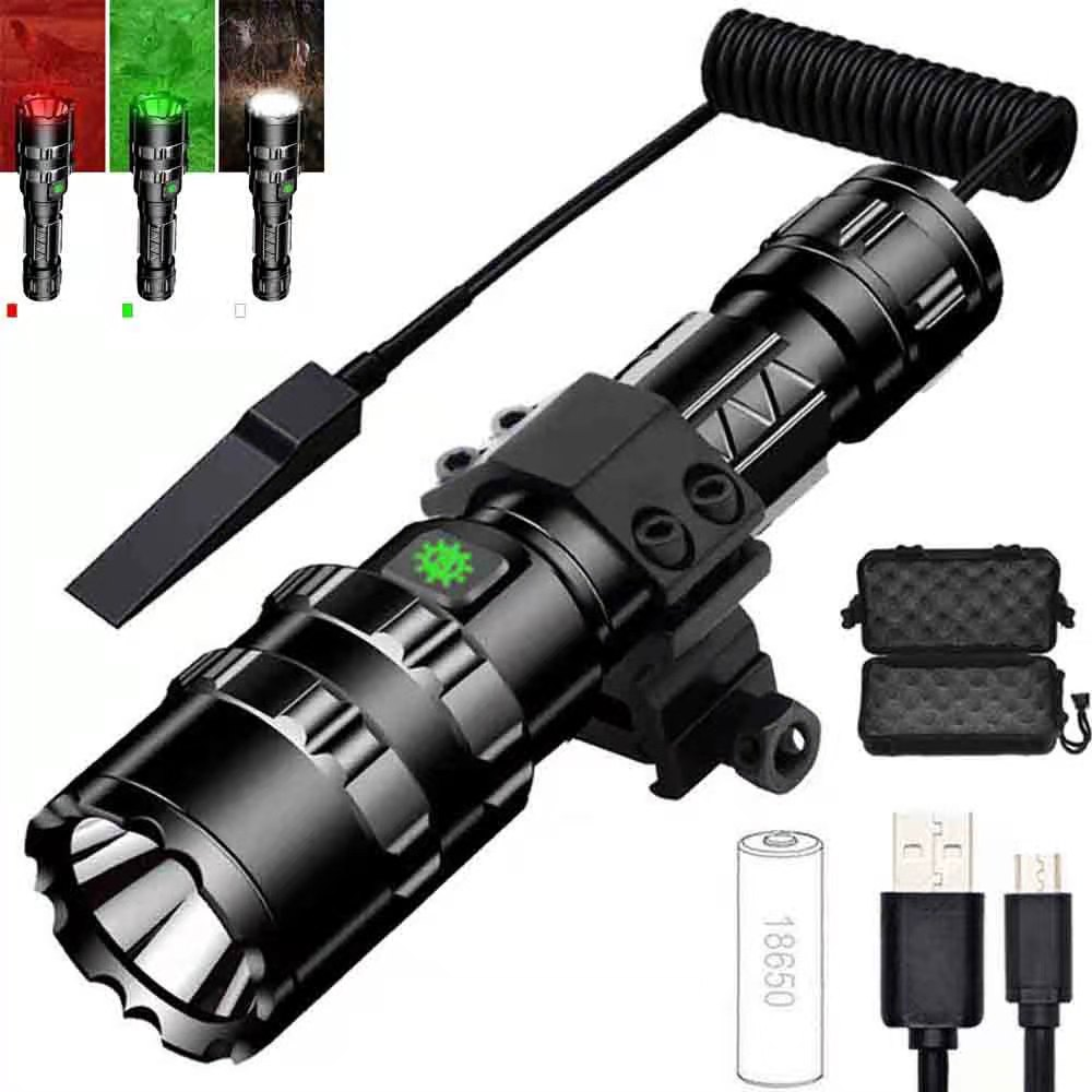 Hot LED Tactical Flashlight USB Rechargeable Waterproof Reconnaissance Light 5 Modes Glare Hunting