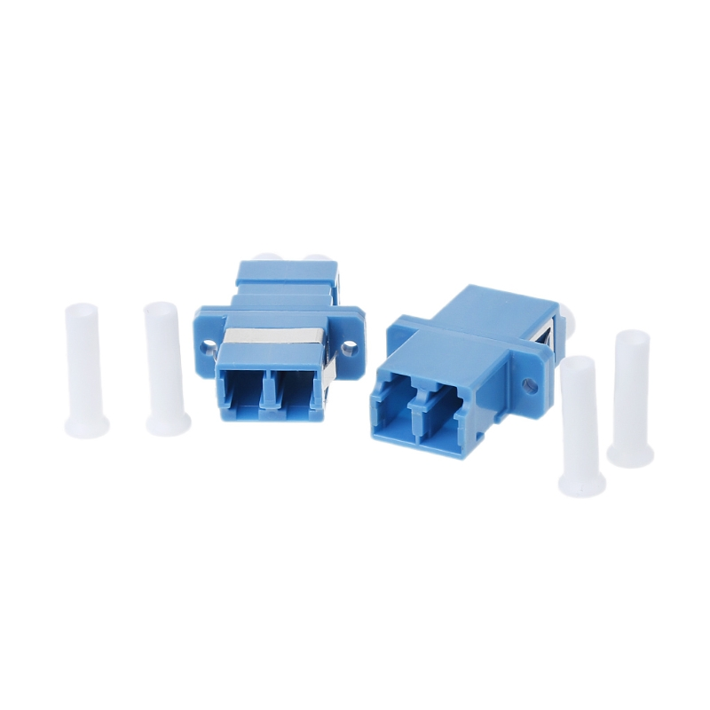 100pcs LC UPC SM Fiber Optic Connector Flange Adapter Coupler Duplex Single Mode 106124 0000[fiber optic connectors lc spx ad low profi ofil mr li