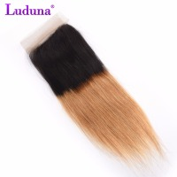 Luduna Ombre Hair Closure 4x4 T1B/27 Blonde Free Part Brazilian Straight Hair Lace Closure Non-Remy Human Hair Closures
