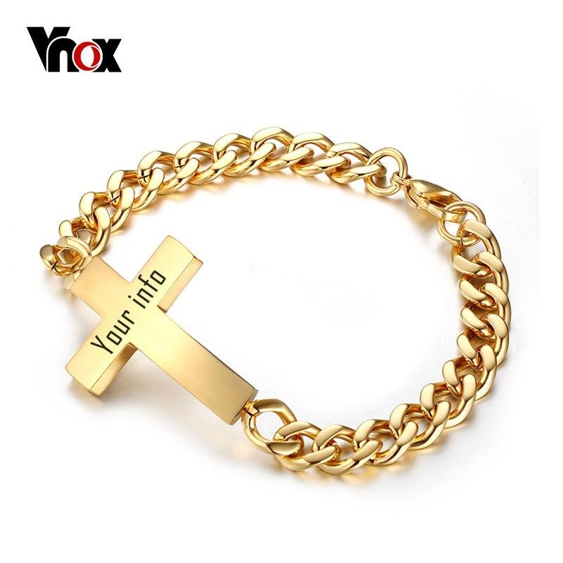 Vnox Cross ID Bracelets for Men Stainless Steel Chain Custom Name Birthday Gift 20cm Length