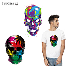 Nicediy Colorful Skull Patch Heat Transfer Vinyl Sticker Stripe Applique On Clothes Stickers Hippie Patches Washable Badge Decor