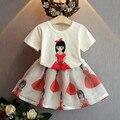2016 summer dresses girls belleza ropa manga corta camiseta impresa + falda del Organza moda ropa para niños
