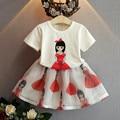 2016 summer dresses girls clothes short sleeve beauty printed t-shirt+ Organza skirt fashion kids clothes