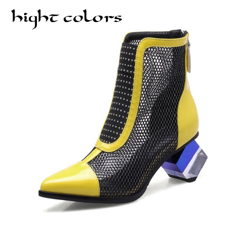 Summer Gauze Cool Boots For Women Female Shoes Strange Style British Retro Pointed Patent Leather Hit Color Hollow Mesh Boots punk style pure color hollow out ring for women