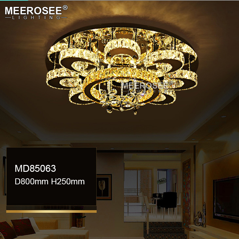 HTB1MS1poSBYBeNjy0Feq6znmFXaz Luxury Flower Shape Crystal Chandeliers Lighting Fixtures Round lustres Living Room Hotel Lamp LED Light Flush Mounted