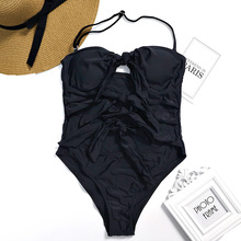 Women One Piece Swimsuit Bandeau Front Bow Knotted Trikini High Cut Out