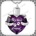 MJD9790 Purple Heart Cremation URN Necklace Jewelry Memorial Keepsake Pendant My BEST Friend Pet Necklace