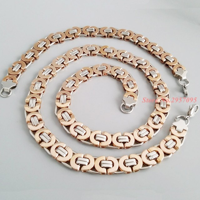 Jewelry Set 10mm Silver Rose Gold Men Chain Stainless Steel Necklace