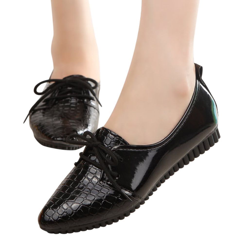 New Casual Outdoor Toe Flat High Quality Women Ladies Solid Lace Up Pointed Toe Flat Heel Casual Single Shoes 2019New Casual Outdoor Toe Flat High Quality Women Ladies Solid Lace Up Pointed Toe Flat Heel Casual Single Shoes 2019