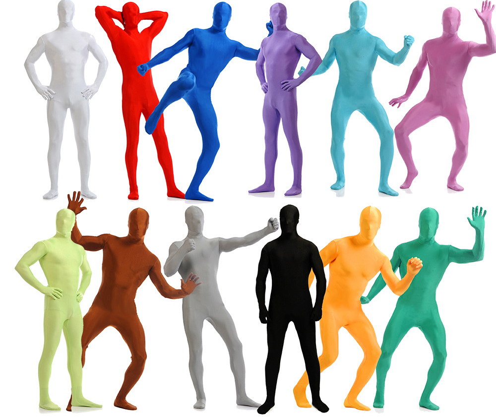 Skin Tight Full Body Zentai Suit Custome Cosplay Adult Spandex Second Morph Suits Bodysuit Halloween Stage