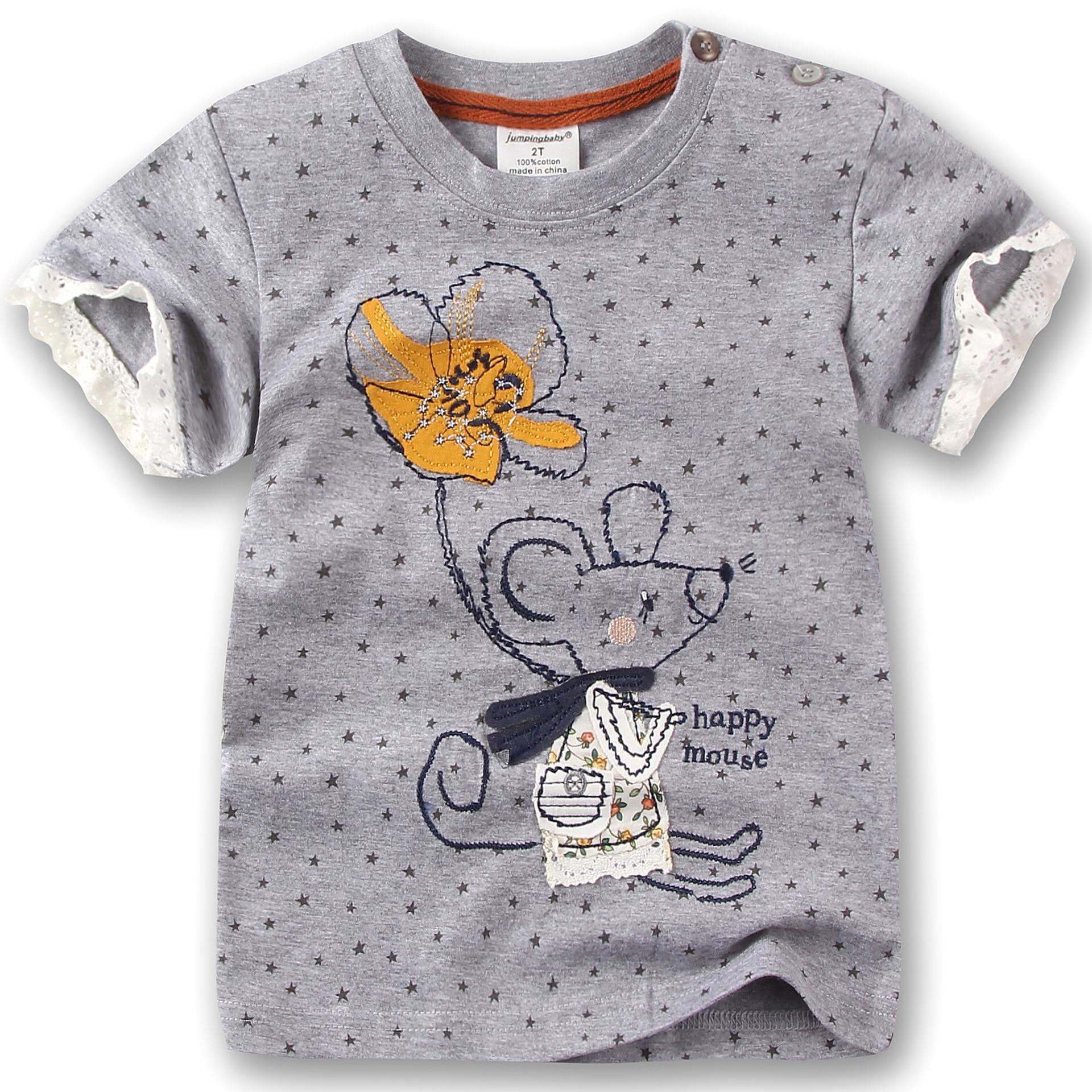 e4afacce5 2016 bebés del verano Camisetas ratón encantador de la historieta 100%  algodón manga corta niñas camisetas gris o-cuello niños ropa de buena  calidad