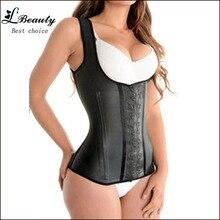 FeelinGirl 100% Latex Waist Cincher Steel Bone Corset Waist Corsets & Bustiers Slimming Shapewear Vest Korsett for Women -A