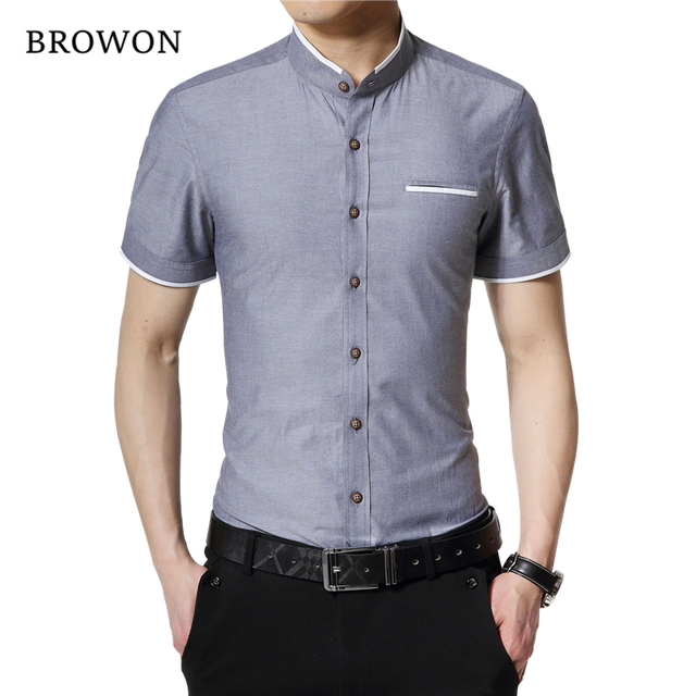 BROWON Brand New Fashion Summer White Shirt Men Short Sleeve Shirt Slim Fit Stand Collar Solid Color Button Shirt for Man