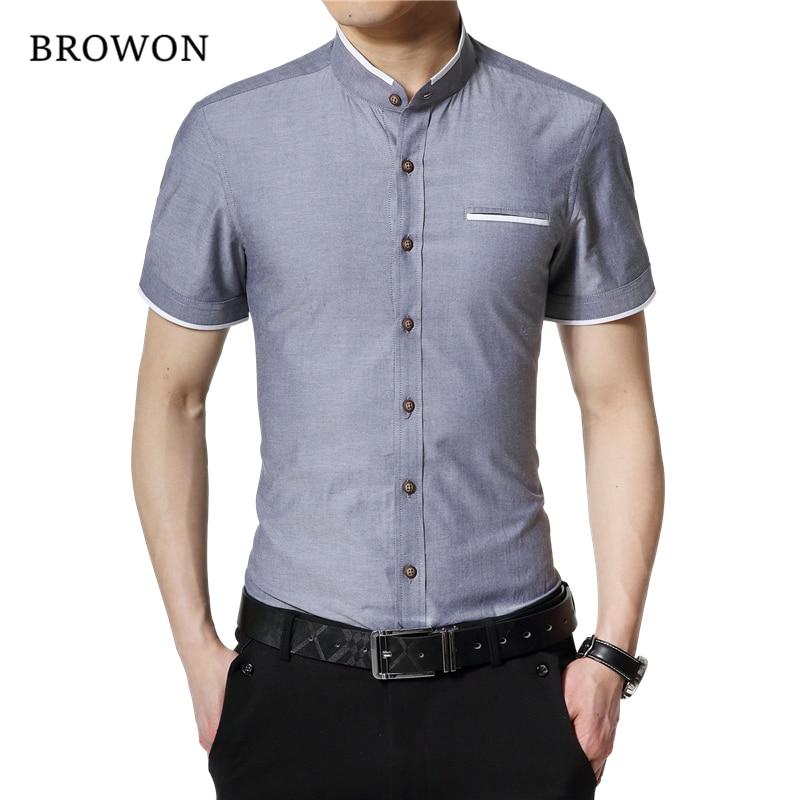 BROWON العلامة التجارية الجديدة أزياء الصيف قميص أبيض الرجال قصيرة الأكمام القميص سليم صالح موقف ذوي الياقات البيضاء الصلبة اللون زر قميص للرجل