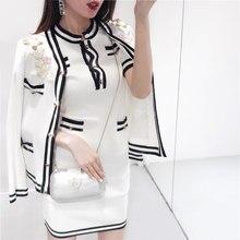 New 2018 Winter Runway Knitted 2 Piece Set Dress Women Elegant Flower  Embroidery Mohair Wool Cardigan + Short Sweater Dress Suit 5e4718a30de8