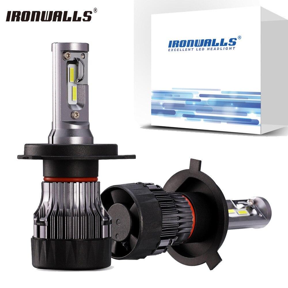 Ironwalls Mini H4 H7 H11 9005 9006 60W LED Car Headlight Bulb Hi lo Beam 12v 24v 5000lm 6500K Auto Led Headlamp Fog Light Bulb