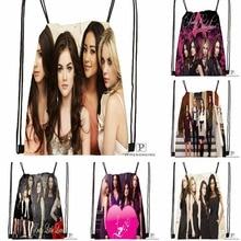 Custom Pretty Little Liars Drawstring Backpack Bag Cute Daypack Kids Satchel (Black Back) 31x40cm#180531-02-57