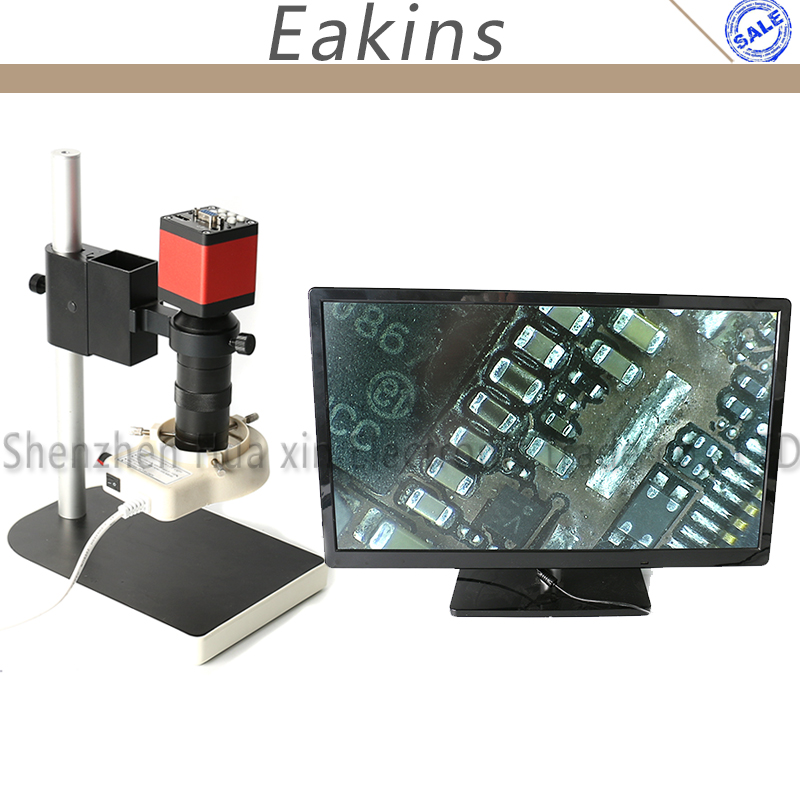 Microscope set HD 13MP HDMI VGA Industrial Microscope Camera+100X C mount lens+56 LED ring Light+stand holder for phone Repair 2 0mp hd industrial digital microscope camera vga cvbs usb av tv outputs 8x 130x optical c mount lens led lights holder