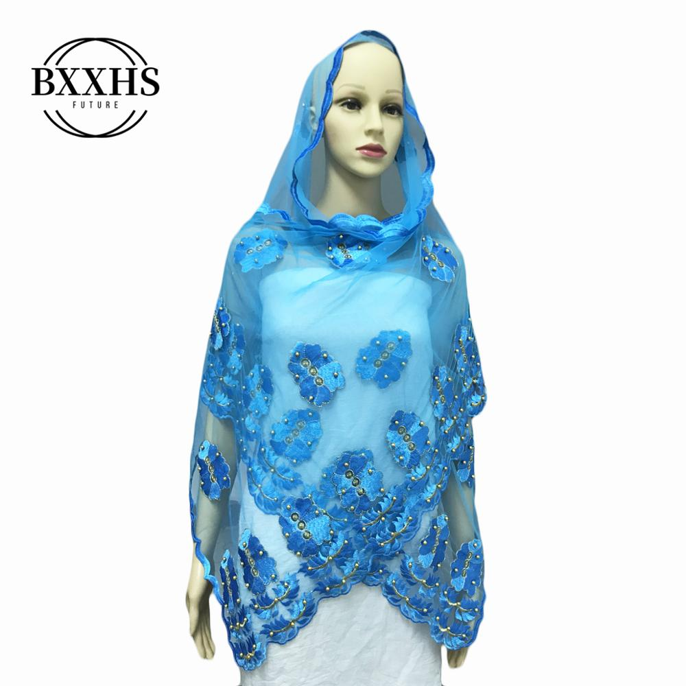 African Women Scarf Muslim Embroidery Net Scarf Hijab Scarf Small Size Scarf For Shawls