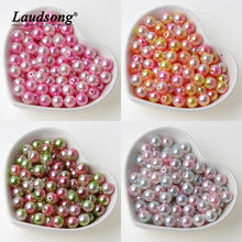 100 Pcs/lot 8 Mm Bulat Manik-manik Warna Pelangi Imitasi ABS Mutiara Beads untuk Perhiasan Membuat Diy Kalung Gelang(China)