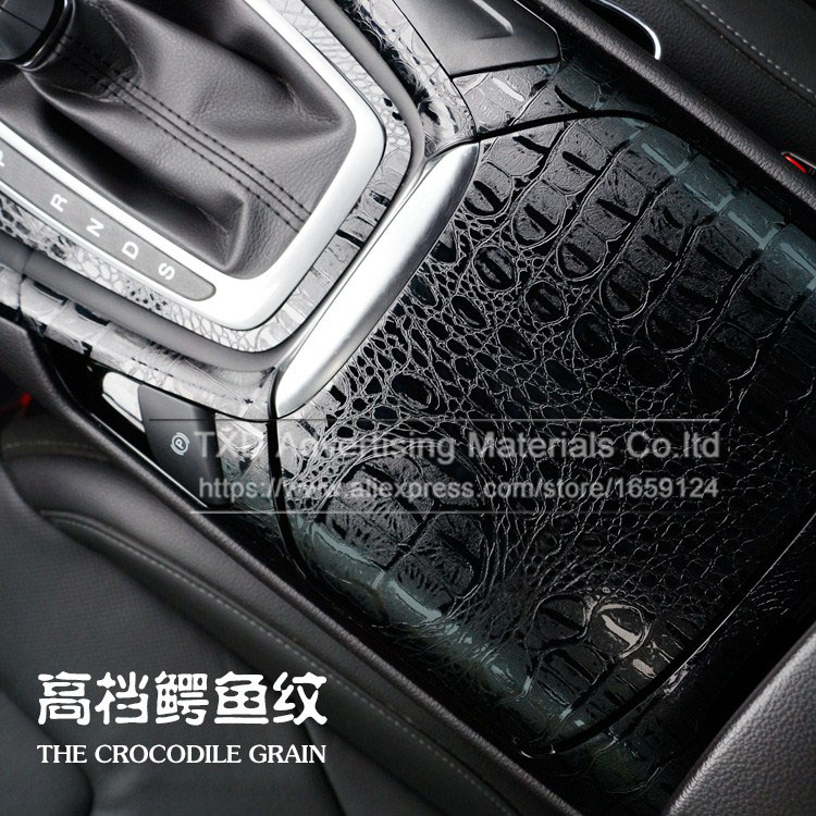 High Quality 3D Car Simulation Faux Crocodile Skin Leather Wrap Vinyl Film Retro Crack Design