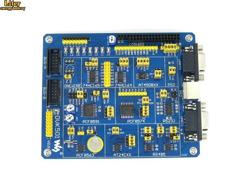 Carte d'extension de carte de développement ATMEL AVR DVK501 MCU PCF8563 DS18B20 MAX3232 PS/2 MAX485 LED pour MCUs de la série AVR Atmega