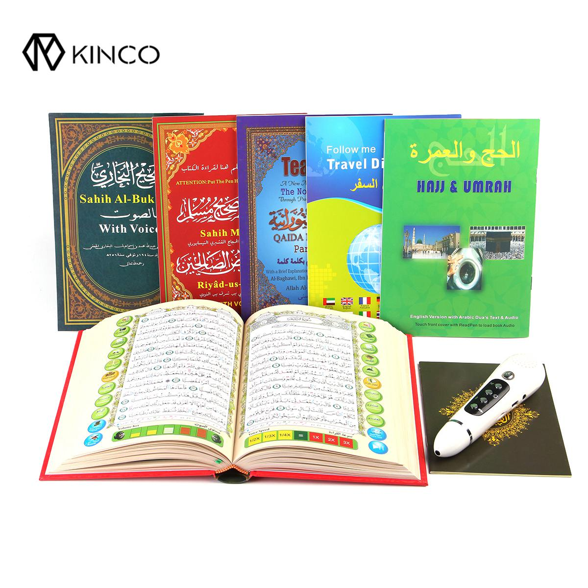 KINCO 4/8GB Digital Quran Reader Pens Talking Pen Recite FM MP3 TF Card With 6 Books Digital Quran Pen Reader 23 Languages digital quran lamp with azan clock colorful led light quran player fm radio quran free download english italian translator