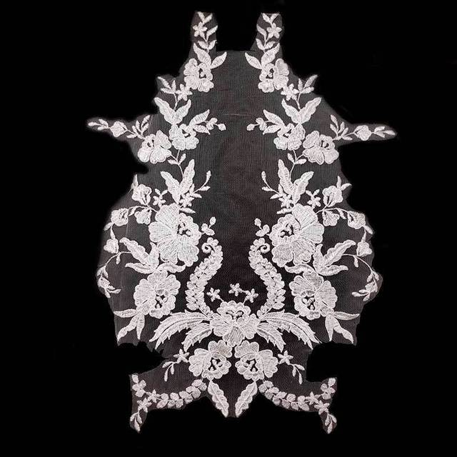 Luxury White Black Wedding Embroidered Floral Lace Appliques Collar Corsage Sewing Trimmings Dress Guipure Embellishments 2019